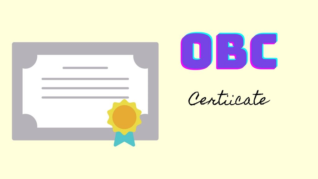 OBC Certificate – online form to apply
